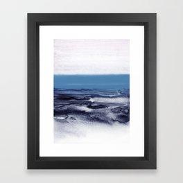 watercolor landscape - blue Framed Art Print