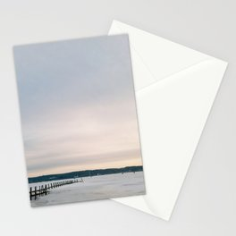 Sunset over Frozen Lake Stationery Cards