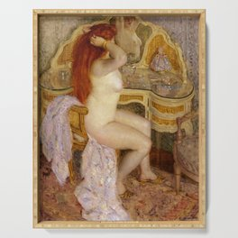 Nude Seated at Her Dressing Table Serving Tray