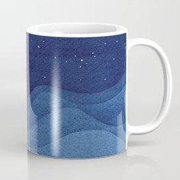 blue ocean waves, sailboat ocean stars Coffee Mug