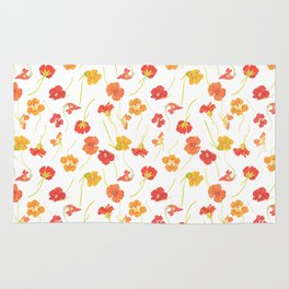 Watercolor Nasturtiums Rug