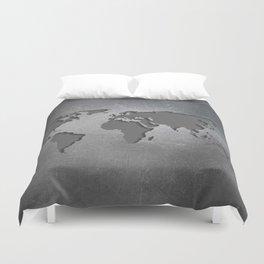 World Map Metal engraved Duvet Cover