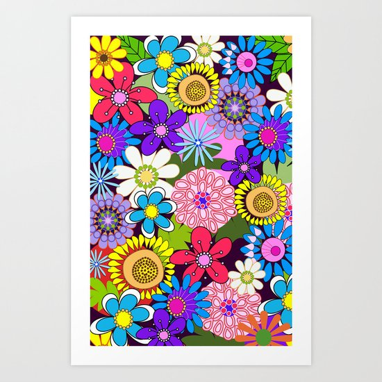 Cute Colourful Flowers Art Print