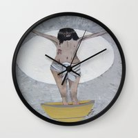 religious Wall Clocks featuring Original Acrylic Religious Painting --- The Last Supper---by Saribelle Rodriguez-- by Saribelle Inspirational Art