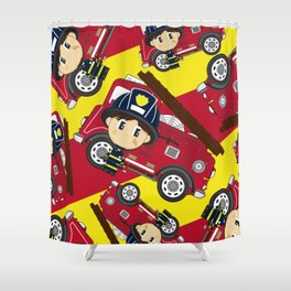 Cute Cartoon Fireman and Fire Engine Pattern Shower Curtain