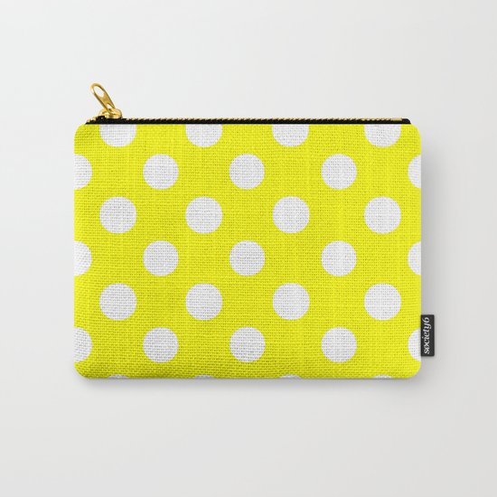 Polka Dots (White/Yellow) Carry-All Pouch