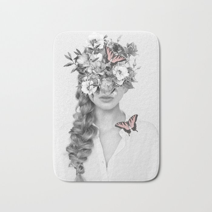 woman with flowers and butterflies 9a Bath Mat