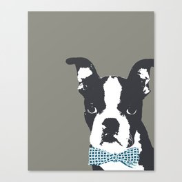 Boston Terrier with a Bow Tie Art Print Canvas Print
