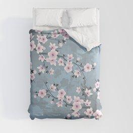 Dusky Pink Grayish Blue Cherry Blossom Comforters