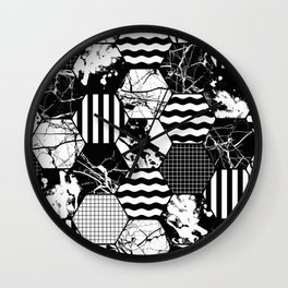 Hexual - Black and white, honeycomb, hexagon pattern, stripes, paint splats, grid and marble Wall Clock