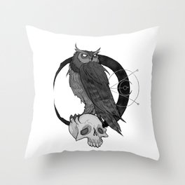 Inktober Owl Throw Pillow