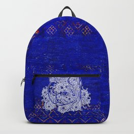 (N20) Tribal Cute Cat Hand Drawing, Traditonal Moroccan Carpet Background Backpack