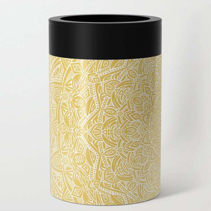 Most Detailed Mandala! Yellow Golden Color Intricate Detail Ethnic Mandalas Zentangle Maze Pattern Can Cooler