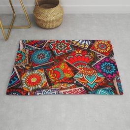 V1 Traditional Moroccan Colored Stones. Rug