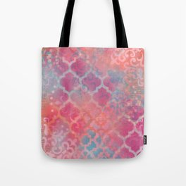 Layered Patterns - Pink, Coral & Turquoise Tote Bag