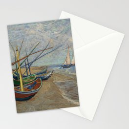 Vincent van Gogh - Fishing Boats on the Beach at Les Saintes-Maries-de-la-Mer Stationery Cards