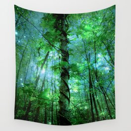 Forest Of The Fairies Green Blue Wall Tapestry