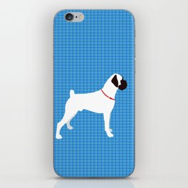 White Boxer Dog Art Print iPhone Skin