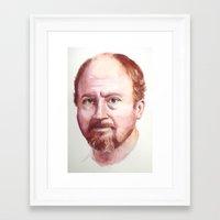 louis ck Framed Art Prints featuring Portrait of Louis CK by Megan Lynn