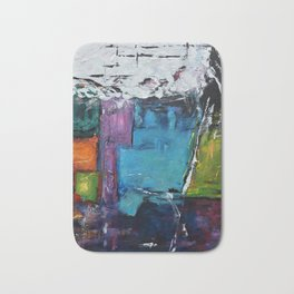 TETRIS, Abstract  Acrylic Painting, colorful mosaic Bath Mat