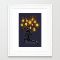yellow Framed Art Prints featuring Dream Guide by Freeminds