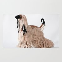 the hound Area & Throw Rugs featuring Afghan Hound by Eva's pics