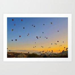 Colorful hot air balloons against blue sky at Cappadocia Turkey Art Print