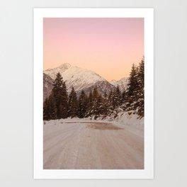 Snow Sunset in Mestia, Georgia Art Print
