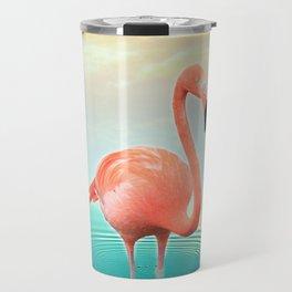 Sunset Flamingo Travel Mug