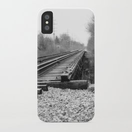 Railroad Tracks Black and White Photography iPhone Case