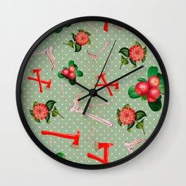 Crimson Flowers & Fibulas Wall Clock