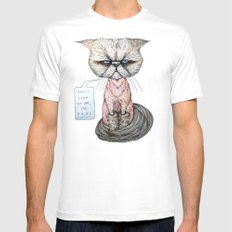 Kitty Got A Haircut Mens Fitted Tee White SMALL