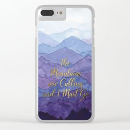 Blue Watercolor Mountains Calling Clear iPhone Case