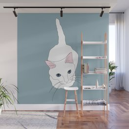 Kitty cat Illustrated Print White Pink Blue Wall Mural