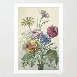 Willem van Leen - Bouquet of flowers in the neck of a green vase 1763/1825 Art Print