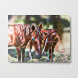 Horse kisses Metal Print
