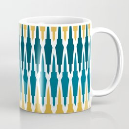 Boho, Geometric Pattern, Blue, Teal, Yellow and Gray Coffee Mug