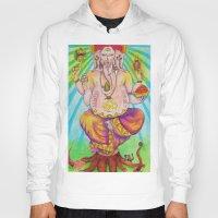 ganesha Hoodies featuring Ganesha by Lioz