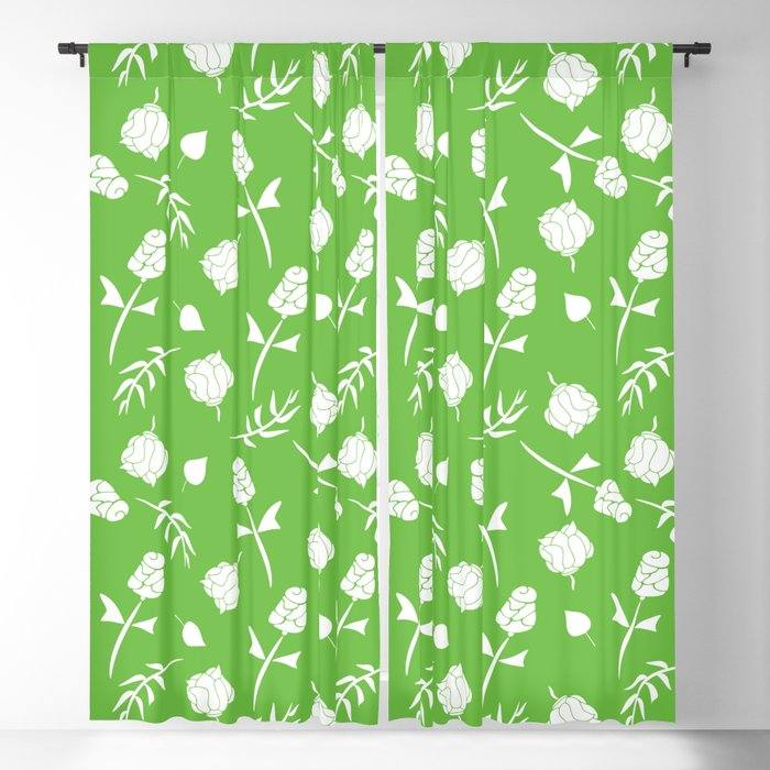 Bright Lime Green And White Fl Pattern Blackout Curtain By Designsoutofmind