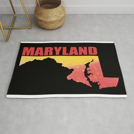 Maryland State Map Watercolor Print Rug