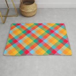 Colorful Summer Plaid Pattern Rug