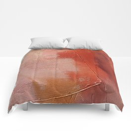 Desert Journey [1]: a textured, abstract piece in pinks, reds, and white by Alyssa Hamilton Art Comforters