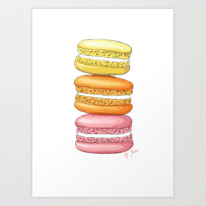 Sunday's Society6 | Yellow, orange and pink macarons art print