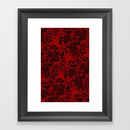 Chrysanthemum II Black on Red Framed Art Print