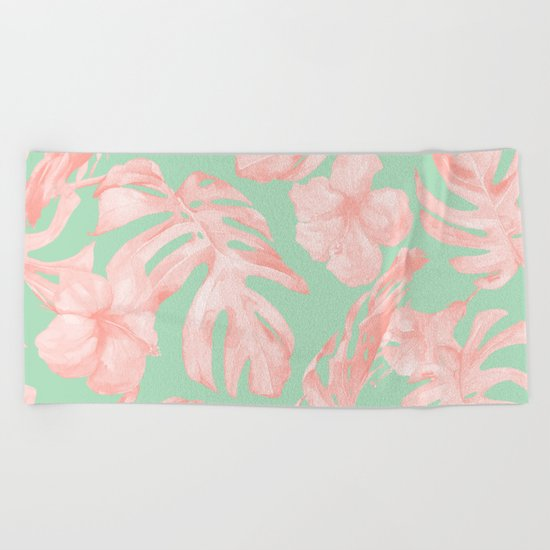 Tropical Palm Leaves Hibiscus Pink Mint Green Beach Towel