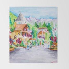 Vail Village Colorado Watercolor Throw Blanket