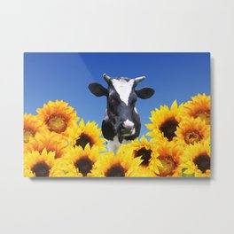 Cow black and white with sunflowers Metal Print