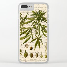 Marijuana Cannabis Botanical on Antique Journal Page Clear iPhone Case