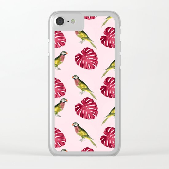 parrots and red leaves Clear iPhone Case