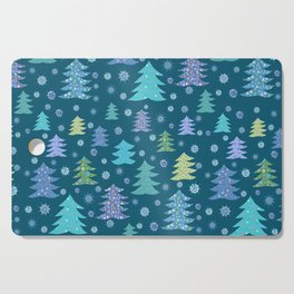 Winter Holidays Christmas Tree Green Forest Pattern Cutting Board
